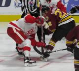 Louis-Marc Aubry takes a faceoff against Ivan Barbashev of the Chicago Wolves during a Grand Rapids Griffins game.