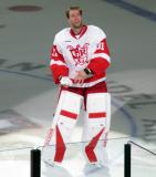 Jared Coreau gets ready to throw a t-shirt into the crowd as one of the three stars of a Grand Rapids Griffins game.