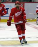 Riley Sheahan skates near center ice during pre-game warmups.