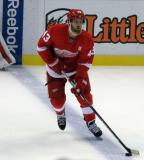 Darren Helm skates along the blue line during pre-game warmups.
