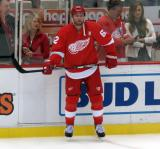 Thomas Vanek stands at the boards during pre-game warmups.