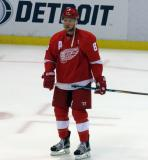 Justin Abdelkader stands on the ice during pre-game warmups.