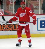 Thomas Vanek stands near the boards during pre-game warmups.