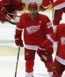 Drew Miller skates in the neutral zone during pre-game warmups.