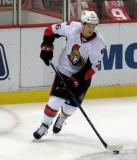 Matt Puempel of the Ottawa Senators skates with the puck during pre-game warmups before a game against the Detroit Red Wings.