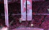 Video banners hanging in Joe Louis Arena during player introductions at the Red Wings' home opener.