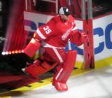 Jimmy Howard skates out during player introductions before the Red Wings' home opener.