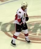 Erik Karlsson of the Ottawa Senators skates at center ice during a game against the Detroit Red Wings.