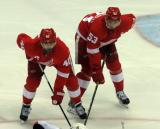 Henrik Zetterberg and Alexey Marchenko get set for a faceoff.