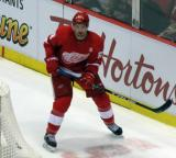 Xavier Ouellet skates behind the Red Wings' net.