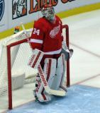 Petr Mrazek stands in his crease during a stop in play.