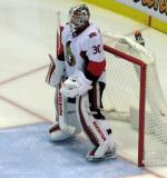 Andrew Hammond of the Ottawa Senators stands in his crease during a stop in play of a game against the Detroit Red Wings.