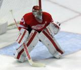 Petr Mrazek gets set in his crease.