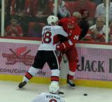 Ryah Dzingel of the Ottawa Senators grinds Gustav Nyquist of the Detroit Red Wings into the boards.