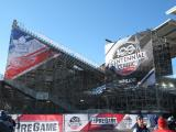 Banners celebrating the Centennial Classic outside BMO Field before the game.