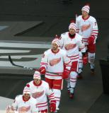 Steve Ott, Danny DeKeyser, Ryan Sproul, Tomas Jurco, and Dylan Larkin walk to the ice for pre-game warmups before the Centennial Classic.