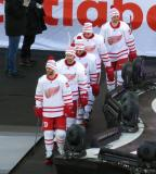 Frans Nielsen, Brendan Smith, Nick Jensen, Anthony Mantha, and Tomas Tatar walk to the ice for pre-game warmups before the Centennial Classic.