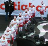 Tomas Tatar, Thomas Vanek, Petr Mrazek, Andreas Athanasiou, Jonathan Ericsson, Gustav Nyquist, Riley Sheahan, Luke Glendening, Xavier Ouellet, and Drew Miller walk to the ice for pre-game warmups before the Centennial Classic.