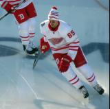 Danny DeKeyser skates during pre-game warmups before the Centennial Classic.