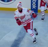 Tomas Jurco skates across the blue line during pre-game warmups before the Centennial Classic.