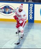 Riley Sheahan skates at the blue line during pre-game warmups before the Centennial Classic.