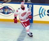Tomas Jurco skates at the blue line during pre-game warmups before the Centennial Classic.