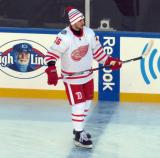 Tomas Jurco stands at the blue line during pre-game warmups before the Centennial Classic.