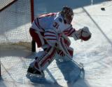 Jared Coreau gets set in his crease during pre-game warmups before the Centennial Classic.