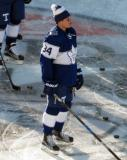 Auston Matthews of the Toronto Maple Leafs skates during pre-game warmups before the Centennial Classic.