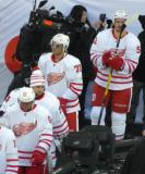 Thomas Vanek, Petr Mrazek, Andreas Athanasiou, and Jonathan Ericsson walk to the ice at the start of the Centennial Classic.