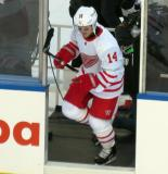Gustav Nyquist steps onto the ice at the start of the Centennial Classic.