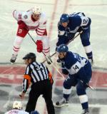 Anthony Mantha lines up opposite Connor Brown and Auston Matthews of the Toronto Maple Leafs during the Centennial Classic.