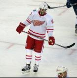 Riley Sheahan skates during a stop in play in the Centennial Classic.