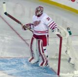 Jared Coreau gets set in his crease at the start of the second period of the Centennial Classic.