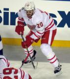 Drew Miller gets set for a faceoff during the Centennial Classic.
