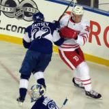 Anthony Mantha battles with Nikita Zaitsev of the Toronto Maple Leafs during the Centennial Classic.