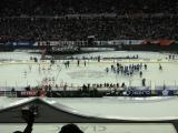 The players coming onto the ice at the end of the Centennial Classic.