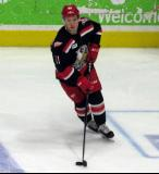 Kyle Criscuolo skates in the neutral zone during pre-game warmups before a Grand Rapids Griffins game.