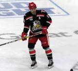 Matthew Ford skates in the neutral zone during pre-game warmups before a Grand Rapids Griffins game.