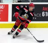 Mike Borkowski skates during pre-game warmups before a Grand Rapids Griffins game.