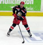 Dominic Turgeon carries a puck during pre-game warmups before a Grand Rapids Griffins game.