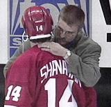 Brendan Shanahan shares an emotional moment with friend Kelly Chase of the St. Louis Blues.