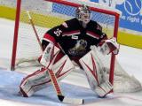 Cal Heeter gets set in his crease during a Grand Rapids Griffins game.