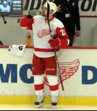 Tomas Tatar drinks some Gatorade at the bench during pre-game warmups.