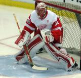 Jared Coreau gets set in his crease during pre-game warmups.