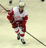 Dylan Larkin skates during pre-game warmups.