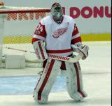 Petr Mrazek stands at the top of his crease at the start of the second period.