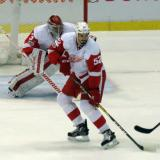 Petr Mrazek and Jonathan Ericsson face down a shooter.