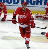Tomas Jurco skates in the neutral zone during pre-game warmups.