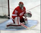 Petr Mrazek faces a shot during pre-game warmups.
